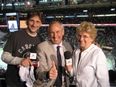 Ed and his mom Rose Marie with Ron Maclean of Hockey Night in Canada